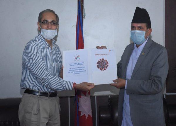 India ambassador to Nepal Vinay Mohan Kwatra handed over a consignment of PCR test kits to Nepali Health Minister Bhanubhakta Dhakal today morning.